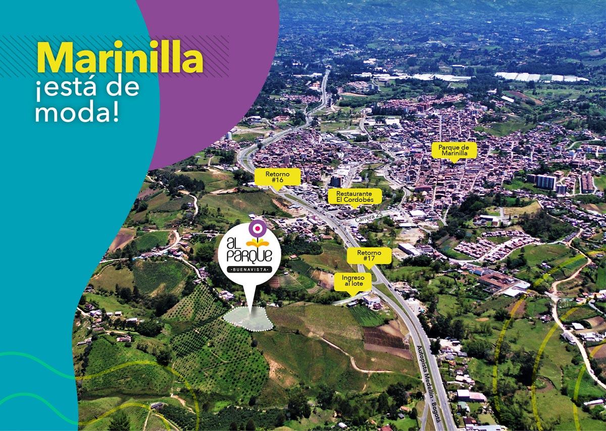 Foto aérea del Proyecto Al Parque · El proyecto para comprar apartamento en Marinilla