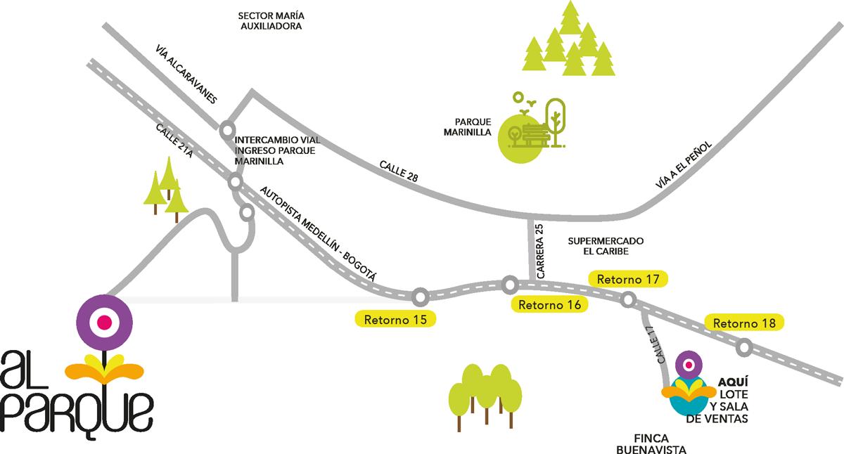Localización del Proyecto Al Parque · Marinilla, Antioquia